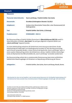 Schiller Friedrich Don Carlos Sturm Und Drang Analyse Eines