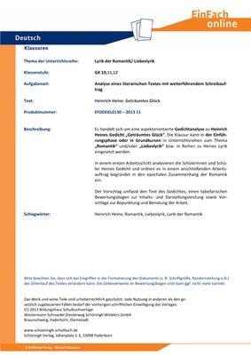 to buy size 40 arrives Heine, Heinrich: Geträumtes Glück - Lyrik der Romantik/ Liebeslyrik -  Analyse eines literarischen Textes mit weiterführendem Schreibauftrag