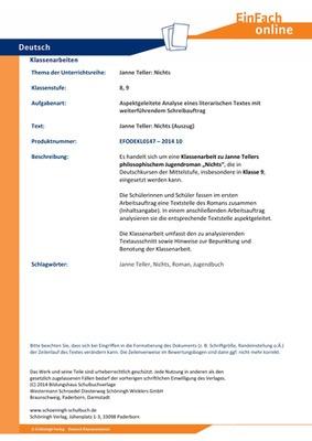 Teller Janne Nichts Aspektgeleitete Analyse Eines Literarischen