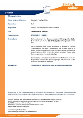 Storm, Theodor: Die Stadt - Stadtlyrik / Stadtgedichte - Analyse und ...