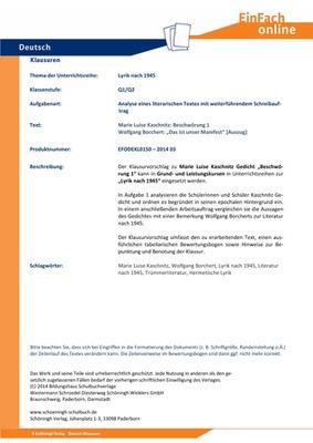 Kaschnitz Marie Luise Beschwörung 1 Lyrik Nach 1945 Analyse Eines Literarischen Textes Mit Weiterführendem Schreibauftrag