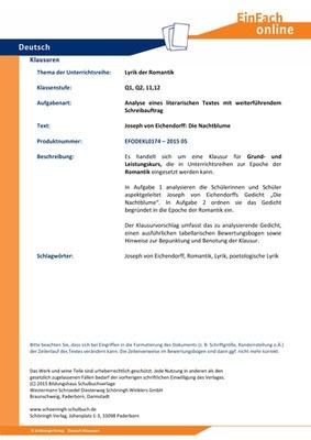 Eichendorff Joseph Von Die Nachtblume Lyrik Der Romantik Analyse Eines Literarischen Textes Mit Weiterführendem Schreibauftrag 180 Min