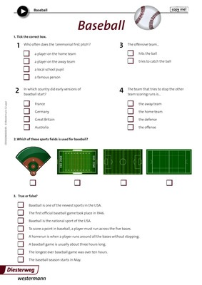 Baseball - Arbeitsblatt zum Video \