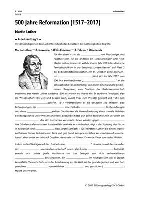 martin luther arbeitsblatt bildungsverlag eins