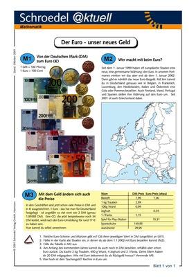 Der Euro - unser neues Geld - - ein Arbeitsblatt für den Mathematik ...