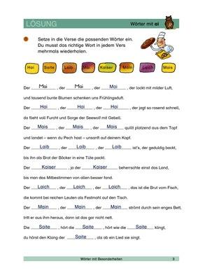 Wörter mit ai - Gedicht vervollständigen - Lösungen: Verlage der ...