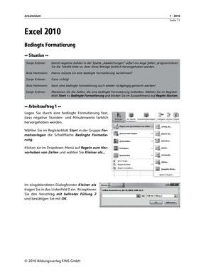Excel 2010 Bedingte Formatierung - Arbeitsblatt: Bildungsverlag EINS