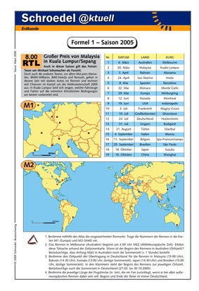 Formel 1 – Saison 2005 - - ein Arbeitsblatt mit geographischen ...