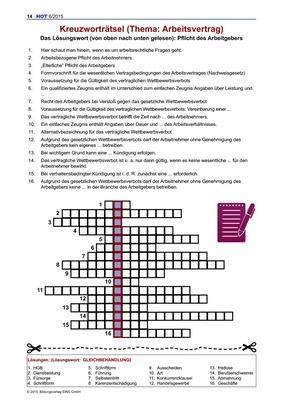 Kreuzworträtsel Arbeitsvertrag Kreuzworträtsel Verlage Der