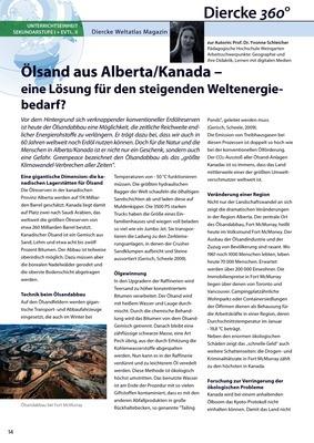 Arbeitsblatt Sek I + evtl. II: Ölsand aus Alberta/Kanada - eine ...