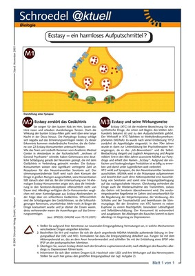 Ecstasy Ein Harmloses Aufputschmittel Ein Arbeitsblatt Zur Kritischen Auseinandersetzung Mit Einer Vermeintlich Harmlosen Droge