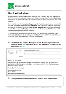 Eine E Mail Schreiben Arbeitsblatt Zur Medienbildung