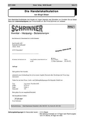 Die Handelskalkulation - Schema und Arbeitsblatt: Bildungsverlag EINS