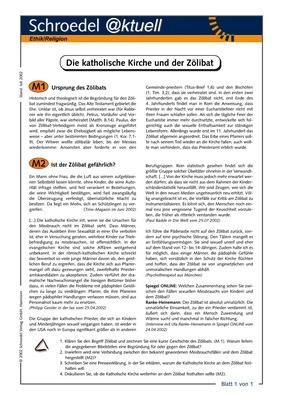Die Katholische Kirche und der Zölibat - - ein Arbeitsblatt zur ...