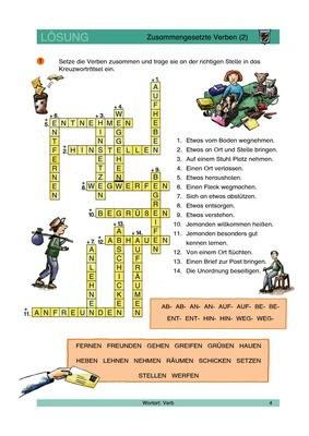Zusammengesetzte Verben 2 Kreuzworträtsel Lösungen Verlage Der