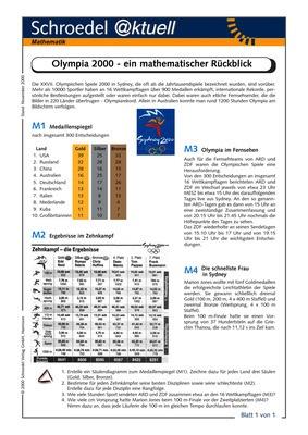 Olympia 2000 Ein Mathematischer Rückblick Ein Arbeitsblatt Für Den Mathematik Unterricht Der Sek I