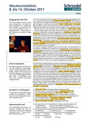 Wochenrückblick: 8. bis 14. Oktober 2017 - - Politik ab Klasse 8 ...