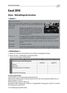 Excel 2010 - Information/Arbeitsblatt: Das Grundschulprogramm der ...