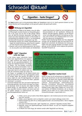 Zigaretten - harte Drogen? - - ein Arbeitsblatt zum kritischen ...