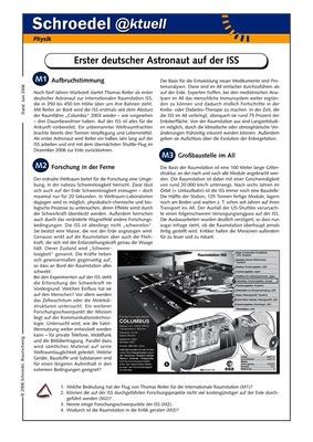 Erster deutscher Astronaut auf der ISS - - ein Arbeitsblatt zur ...