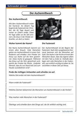 Der Aschermittwoch - - ein Arbeitsblatt über den Aschermittwoch (ab ...