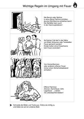 Wichtige Regeln im Umgang mit Feuer - Ausschneidebogen