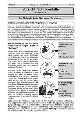 Schuldenfalle - Arbeitsblatt: Bildungsverlag EINS
