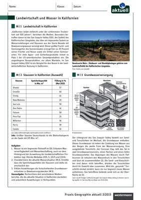 Landwirtschaft und Wasser in Kalifornien - Ein Arbeitsblatt zum ...