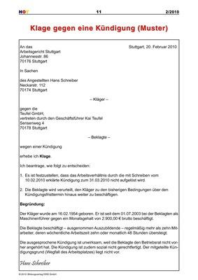 Klage Gegen Eine Kündigung Muster Bildungsverlag Eins