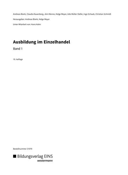 Ausbildung im Einzelhandel - Schülerband 1: Bildungsverlag EINS