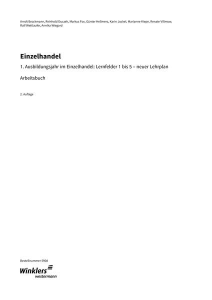Einzelhandel - 1. Ausbildungsjahr - Arbeitsbuch: Winklers Verlag