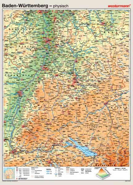 Karte Baden Württemberg Kostenlos.Baden Württemberg Vorderseite Physisch Rückseite Politisch