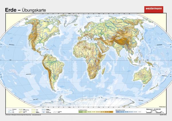 Die Erde Vorderseite Physisch Rückseite Stumme Karte Diercke