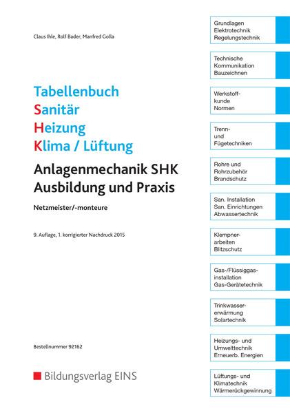Innovativ Tabellenbuch Sanitär-Heizung-Klima/Lüftung - Anlagenmechanik SHK  YE98
