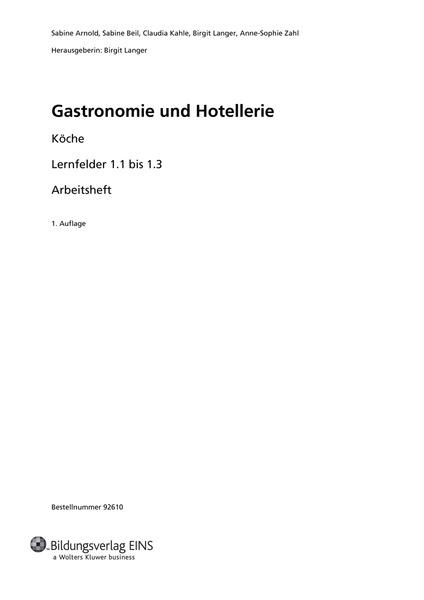 Köche - Lernfelder 1.1 bis 1.3 - Arbeitsheft: Bildungsverlag EINS