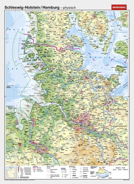 Schleswig Holstein Karte.Schleswig Holstein Hamburg Vorderseite Physisch Rückseite Politisch