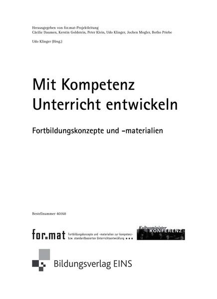 for.mat KMK-Projekt - Mit Kompetenz Unterricht entwickeln - Buch ...