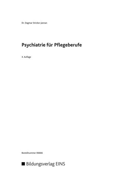 Psychiatrie für Pflegeberufe: Bildungsverlag EINS