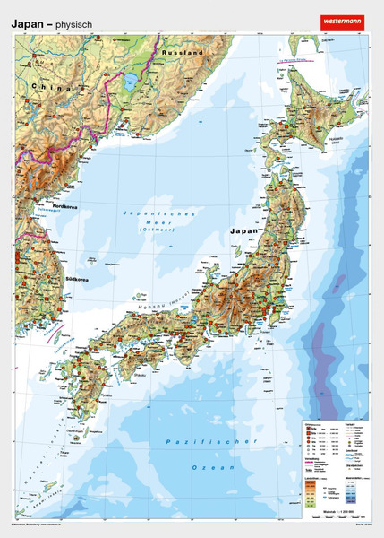 Japan Karte Physisch.Japan Vorderseite Physisch Ruckseite Politisch