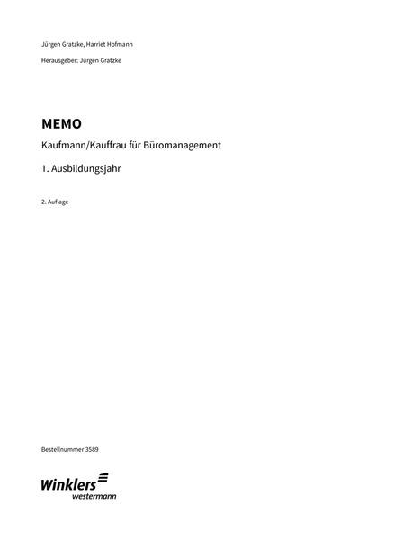MEMO - Kaufmann/Kauffrau für Büromanagement, Ausbildungsjahr 1 ...