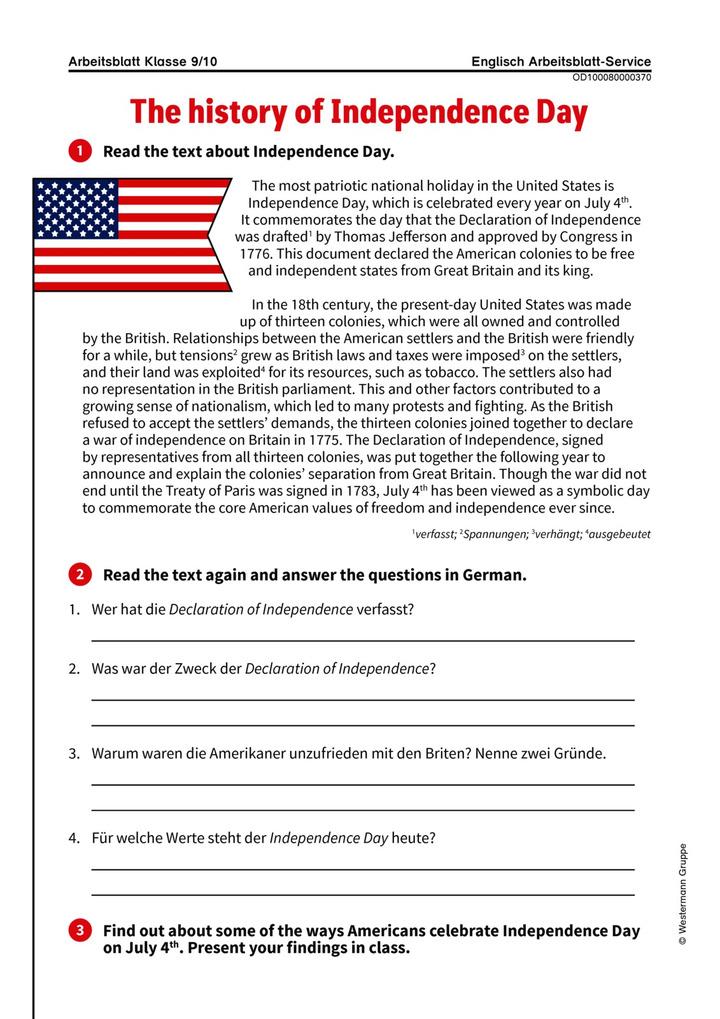 The history of Independence Day - Arbeitsblatt zum US-amerikanischen ...