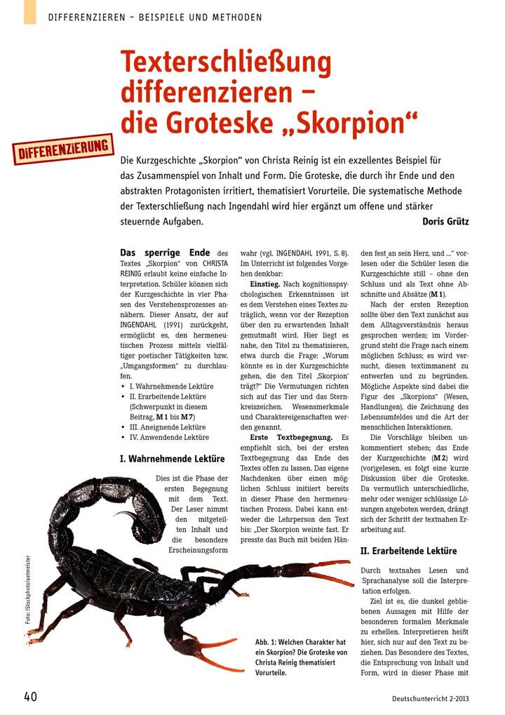 texterschlie ung differenzieren die groteske skorpion verlage der westermann gruppe. Black Bedroom Furniture Sets. Home Design Ideas