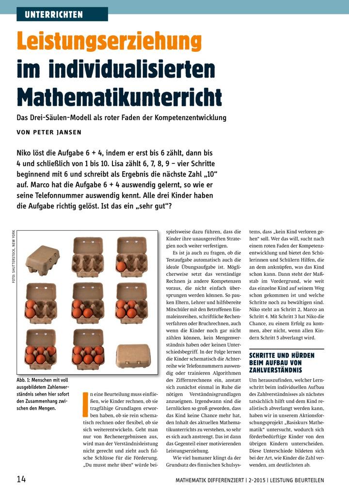 Leistungserziehung im individualisierten Mathematikunterricht - Das ...