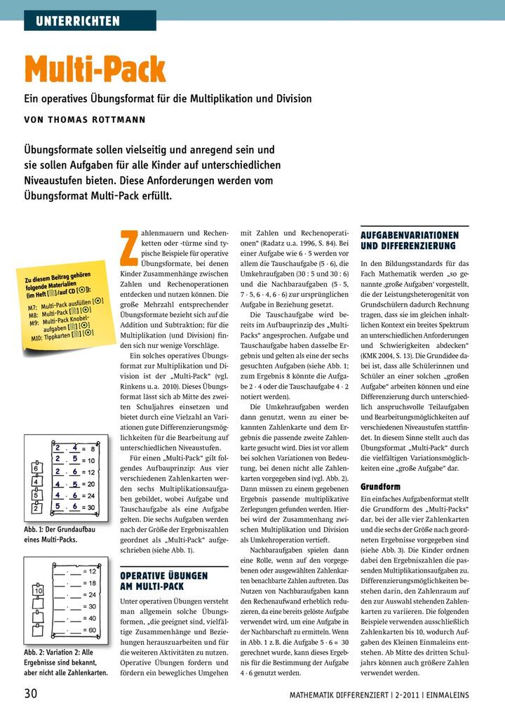 Multi-Pack - Ein operatives Übungsformat für die Multiplikation und ...