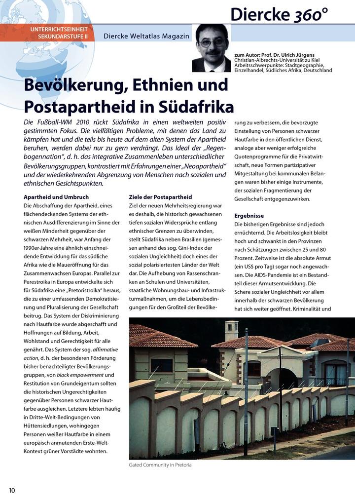Arbeitsblatt Sek II: Bevölkerung, Ethnien und Postapartheid in ...