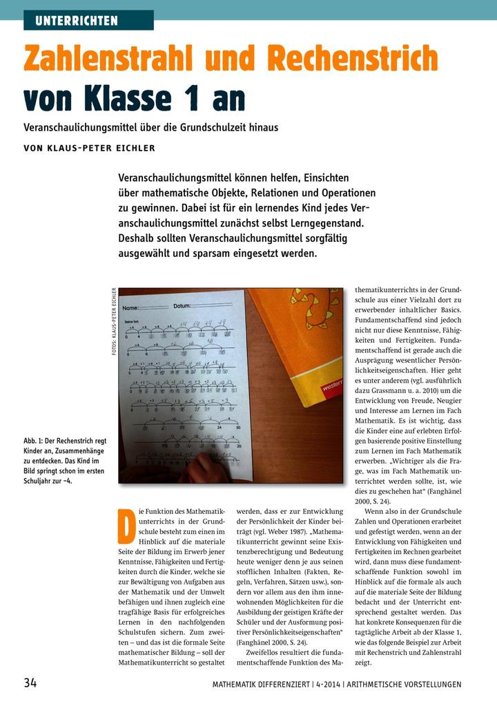 Zahlenstrahl und Rechenstrich von Klasse 1 an ...
