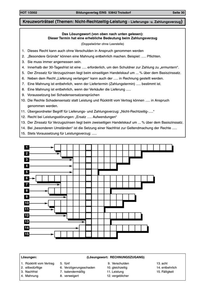 Akzeptieren Kreuzworträtsel