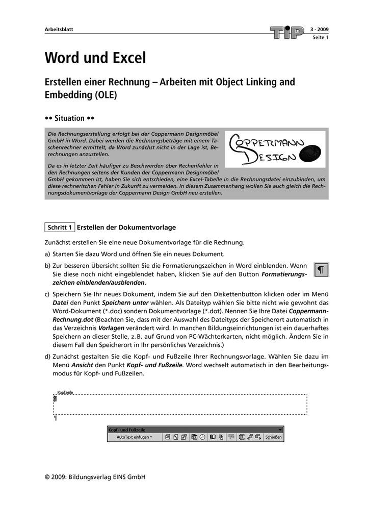 Word und Excel - Erstellen einer Rechnung - Arbeiten mit Object ...