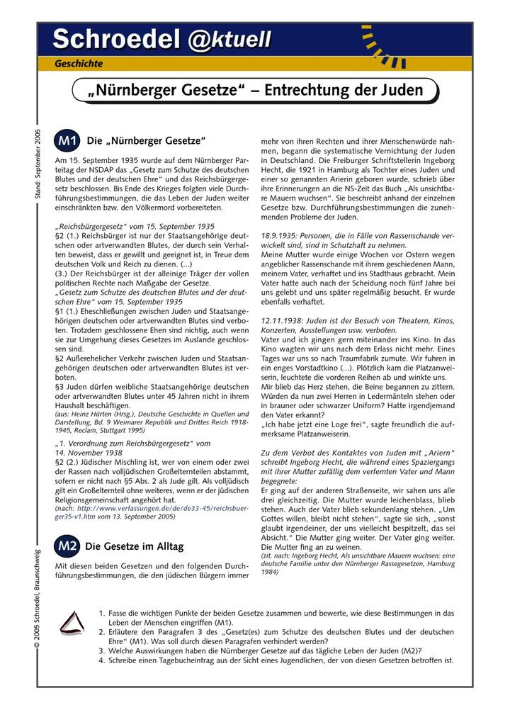 """Nürnberger Gesetze"""" – Entrechtung der Juden - - ein Arbeitsblatt ..."""
