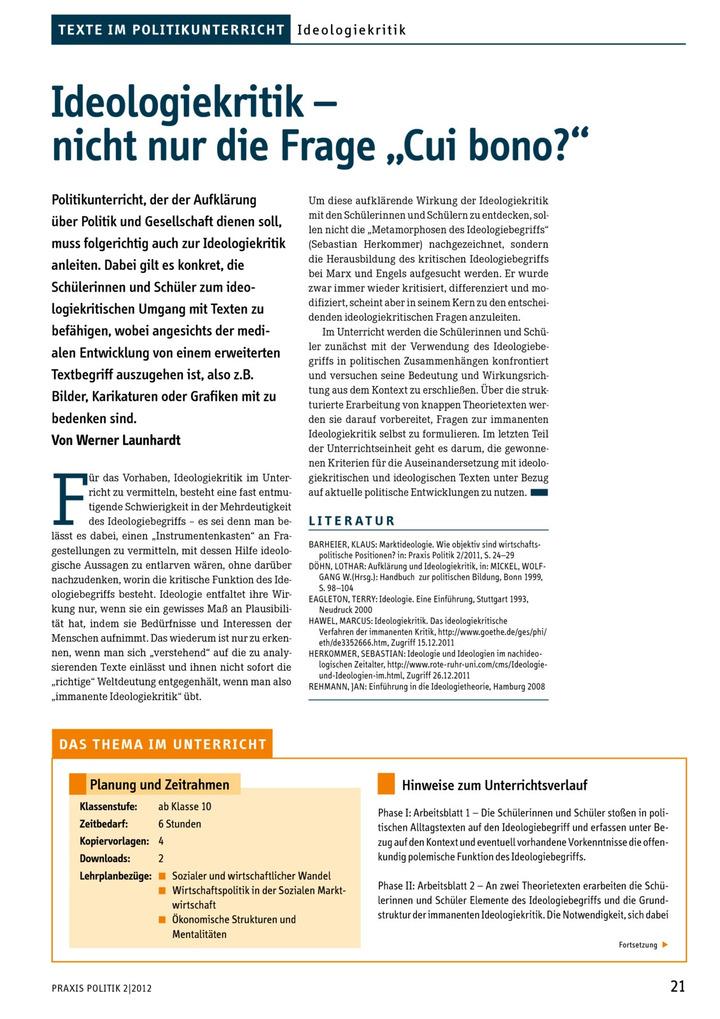 """Ideologiekritik – nicht nur die Frage """"cui bono?"""": LÜK - Lernen ..."""
